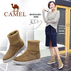 Camel/骆驼女靴 2016秋冬新款 欧美时尚女靴 舒适休闲中筒靴棉靴