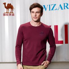 骆驼 秋季新款时尚绣标圆领棉质日常休闲长袖T恤衫男上衣