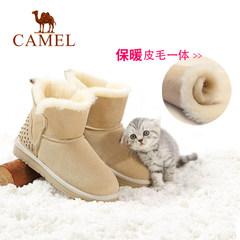 骆驼女鞋 2016冬季新款羊皮毛一体雪地靴 加绒加厚短筒磨砂皮短靴
