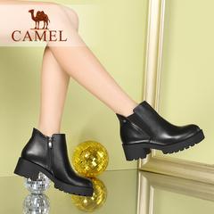 Camel/骆驼短靴春季女鞋时尚粗跟方跟女靴简约纯色拉链短筒靴