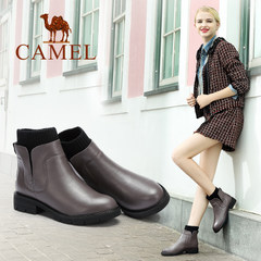 Camel/骆驼女鞋  秋冬款 真皮短靴女 圆头方跟舒适女靴