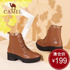 骆驼女靴 2016冬季女鞋英伦风马丁靴 高跟真皮休闲系带中筒靴