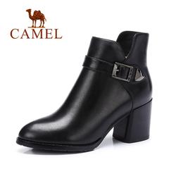 Camel/骆驼短靴 秋冬女鞋简约休闲女靴高跟靴子短筒粗跟女靴