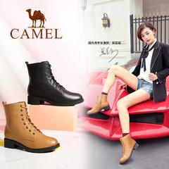 骆驼女鞋 2016秋冬季新款英伦风马丁靴休闲时尚靴子真皮系带短靴