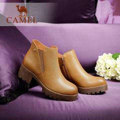骆驼女鞋 秋冬新款森女系简约短靴时尚粗跟真皮女裸靴