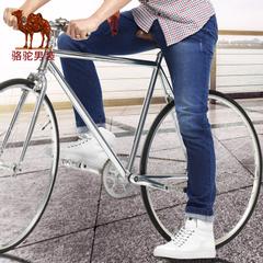 Camel/骆驼男装 春季新款时尚青年蓝色猫须直筒牛仔裤男长裤