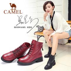 骆驼马丁靴 英伦风短筒加绒女靴子系带平跟真皮短靴2016冬季女鞋