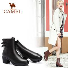 Camel/骆驼短靴 秋冬短靴 时尚高跟女靴秋鞋粗跟女靴短筒靴