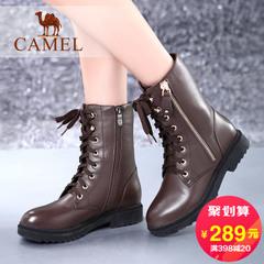 Camel/骆驼女靴 加绒靴子粗跟中筒靴 潮流马丁靴女鞋子 休闲鞋女
