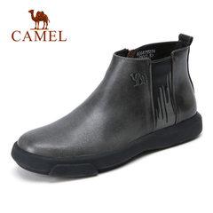 骆驼男靴 秋冬时尚耐磨套筒 休闲男士皮靴 复古擦色牛皮高帮男靴