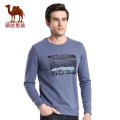 Camel/骆驼男装 春季新款套头时尚印花圆领流行日常休闲卫衣