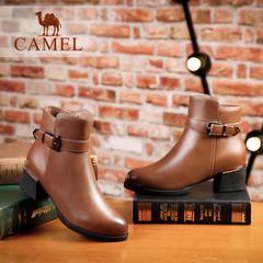 Camel/骆驼短靴 秋冬女鞋 欧美简约时尚粗跟加绒休闲女短靴