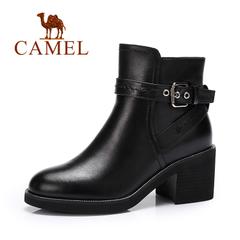 Camel/骆驼短靴 秋冬短靴 优雅高跟防水台加绒保暖女靴短靴