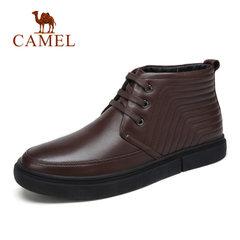 Camel/骆驼男靴秋冬新品商务休闲男士皮靴加绒高帮商务男靴