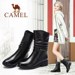 Camel/骆驼女靴 2016冬季新款 欧美简约女靴 时尚休闲中筒靴