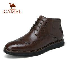 Camel/骆驼男靴秋冬新品商务男靴保暖牛皮时尚休闲加绒男靴