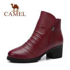 Camel/骆驼女靴 秋冬女鞋 气质优雅高跟简约褶皱圆头粗跟女靴