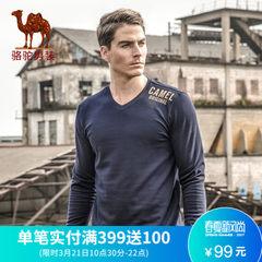骆驼牌男装 春季时尚V领青年字母印花休闲长袖T恤衫 男
