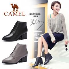 Camel/骆驼短靴 秋冬女鞋 简约百搭高跟气质粗跟系带女短靴