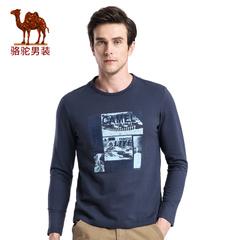 Camel/骆驼男装 春季新款字母植绒印花圆领日常休闲长袖T恤衫