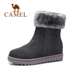 Camel/骆驼女靴 秋冬磨砂真皮 加厚保暖平底中筒靴休闲雪地靴