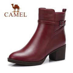 Camel/骆驼短靴秋冬女鞋时尚保暖防水台粗跟短靴欧美通勤女靴