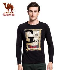 Camel/骆驼&熊猫联名系列男装青年时尚圆领流行棉质休闲长袖T恤衫