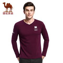 Camel/骆驼&熊猫联名系列男装 时尚V领绣标棉质休闲长袖T恤衫上衣