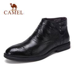 骆驼男鞋 冬季英伦牛皮耐磨 柔软商务拉链雕花 时尚商务休闲男靴