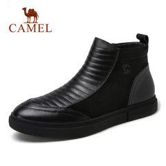 Camel/骆驼男鞋冬季商务休闲加绒保暖舒适耐磨男士皮靴
