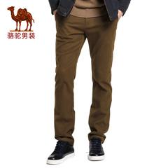 Camel/骆驼男装 春季新款纯色商务休闲长裤子修身小脚休闲裤