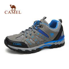 Camel/骆驼男鞋户外运动鞋 男女款真皮网透气休闲鞋登山鞋徒步鞋