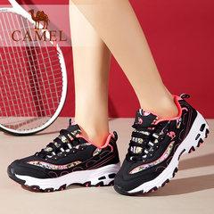 骆驼运动鞋女士时尚厚底增高轻便韩版潮熊猫鞋休闲鞋户外越野跑鞋