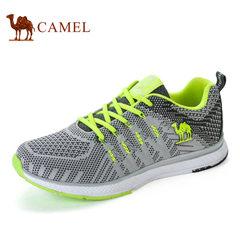 Camel/骆驼运动鞋男士户外越野跑步鞋女飞织布面轻透气情侣休闲鞋