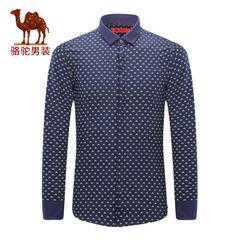 Camel/骆驼&熊猫联名系列男装 碎花衬衣尖领纯棉修身印花长袖衬衫
