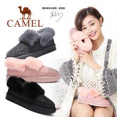 骆驼女鞋2016冬季新款 棉靴平底加绒短靴时尚面包鞋 保暖雪地靴