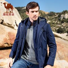 Camel/骆驼男装棉衣 冬季新品青年连帽商务休闲外套纯色棉服