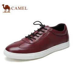 Camel/骆驼男鞋秋季真皮板鞋男士时尚休闲小黑鞋潮流滑板鞋