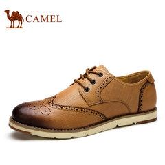 camel骆驼男鞋 圆头系带平跟男士休闲皮鞋 英伦风鞋子男