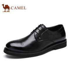 Camel/骆驼男鞋夏季商务男士皮鞋布洛克潮流牛皮商务休闲皮鞋