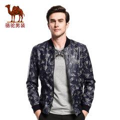 骆驼&熊猫联名系列男装 棒球领皮茄克纯色时尚jacket青年外套上衣
