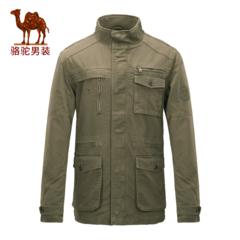 骆驼男装 男款休闲夹克秋冬长袖保暖纯色防风外套男士中长款夹克