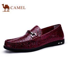 Camel 骆驼男鞋 休闲鞋套脚 春季皮鞋男士时尚休闲皮鞋子 潮鞋