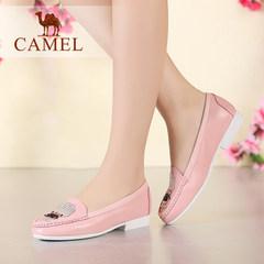 Camel/骆驼女鞋 舒适软面真皮简约圆头水钻头层牛皮低跟浅口单鞋