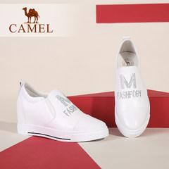 Camel/骆驼女鞋  秋季新款 舒适休闲单鞋圆头水钻内增高女鞋