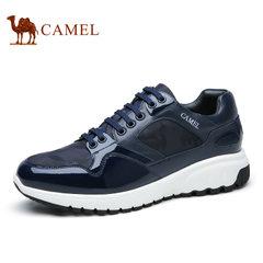 Camel骆驼男鞋 2017春季男士时尚迷彩拼接系带透气休闲运动鞋