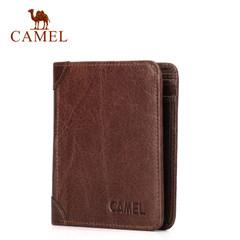 Camel/骆驼男士钱包 牛皮皮夹男竖款复古2折钱夹