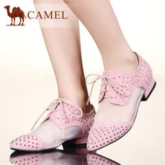 Camel骆驼女鞋休闲学院风羊京皮网纱拼接尖头女单鞋
