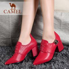 Camel/骆驼时尚 欧美尖头小牛皮新娘婚鞋高跟绑带女鞋