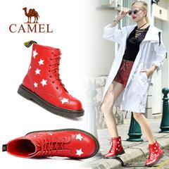 Camel/骆驼马丁靴女新款英伦风女鞋系带鞋子平底中筒靴子冬靴